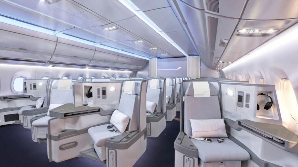 Finnair A350 XWB Business Class Cabin 01 cruise HR