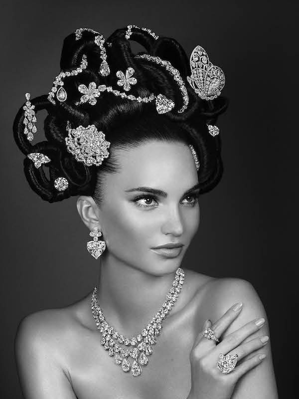 The re-creation of Hair & Jewel  (B&W) featuring 22 extremely rare and unique jewels with a value of half a  billion dollars (2013)